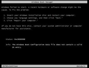 boot error